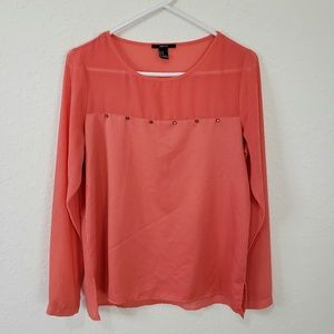Forever 21 | Peach Long Sleeve Studded Blouse